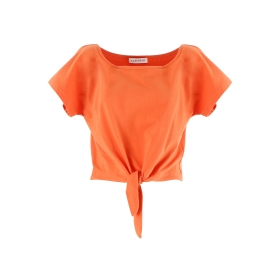Cotton blend t-shirt with knot