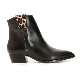 Texan ankle boots with spotted zipper ring