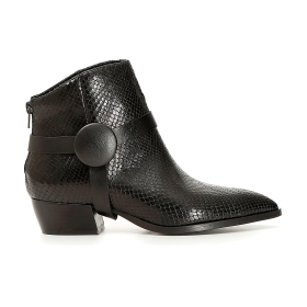 Printed leather ankle boots with removable ankle strap