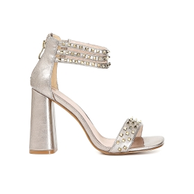 Patent studded sandals with ankle strap