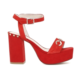 High suede sandals with decorative eyelets