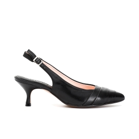 Open-heel Nappa leather pumps with front pleating