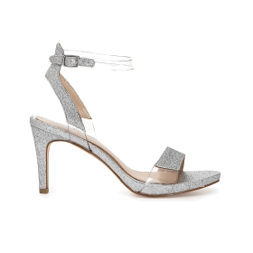 Sandals in glitter and transparent PVC with ankle strap
