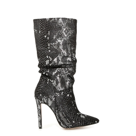Pleated boots with patent python print