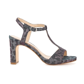 Glitter leopardskin T-bar sandals