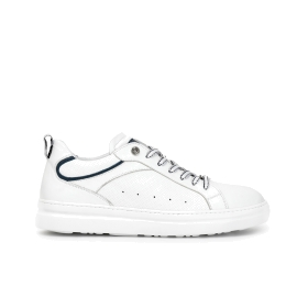 Calfskin sneakers with contrast colour sole