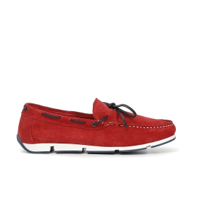 Split leather moccasins with laces