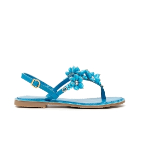 Wedge sandals, with straps with maxi rhinestones and ankle strap Blue 36