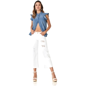 BULL DENIM CULOTTE TROUSERS WITH LACE DETAILS White 40