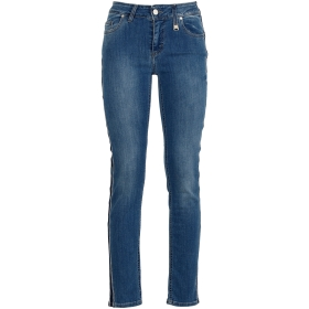DENIM TROUSERS WITH LUREX ON SIDE Blue 38