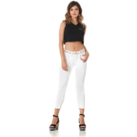 SEQUINNED BULL DENIM TROUSERS White 48