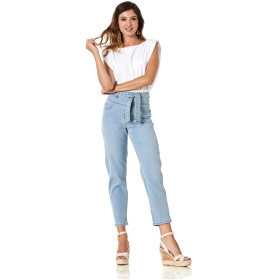 BAGGY DENIMS WITH STUDDED BELT Blue 40